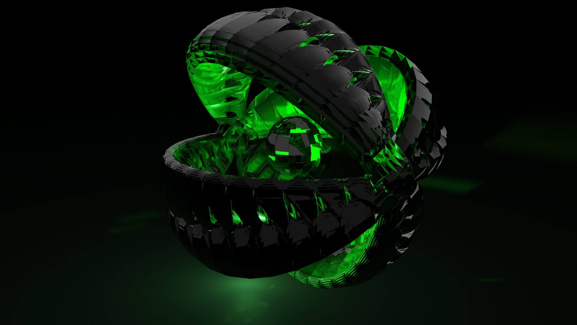 3d abstract green dark