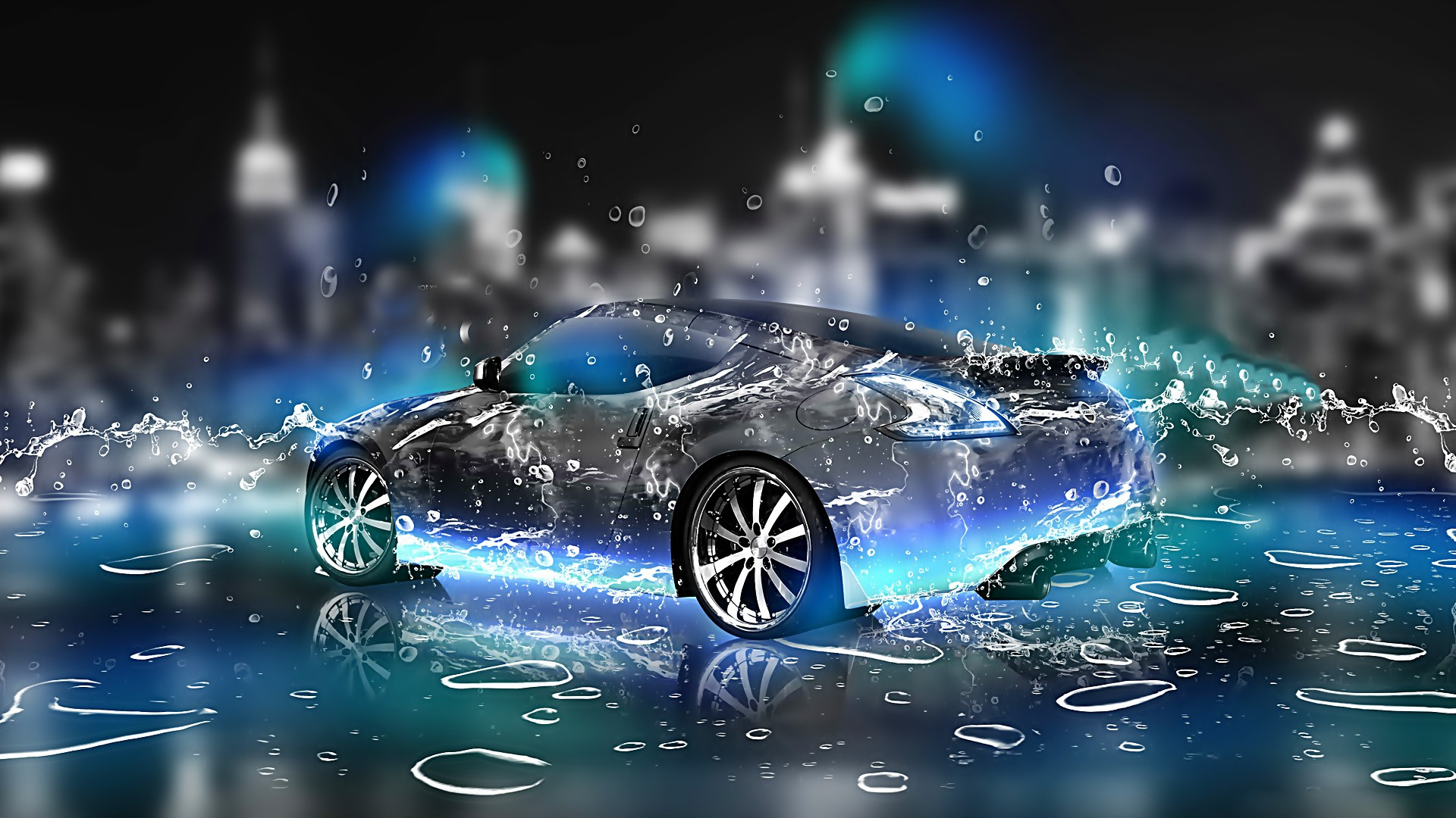 3d car water splash