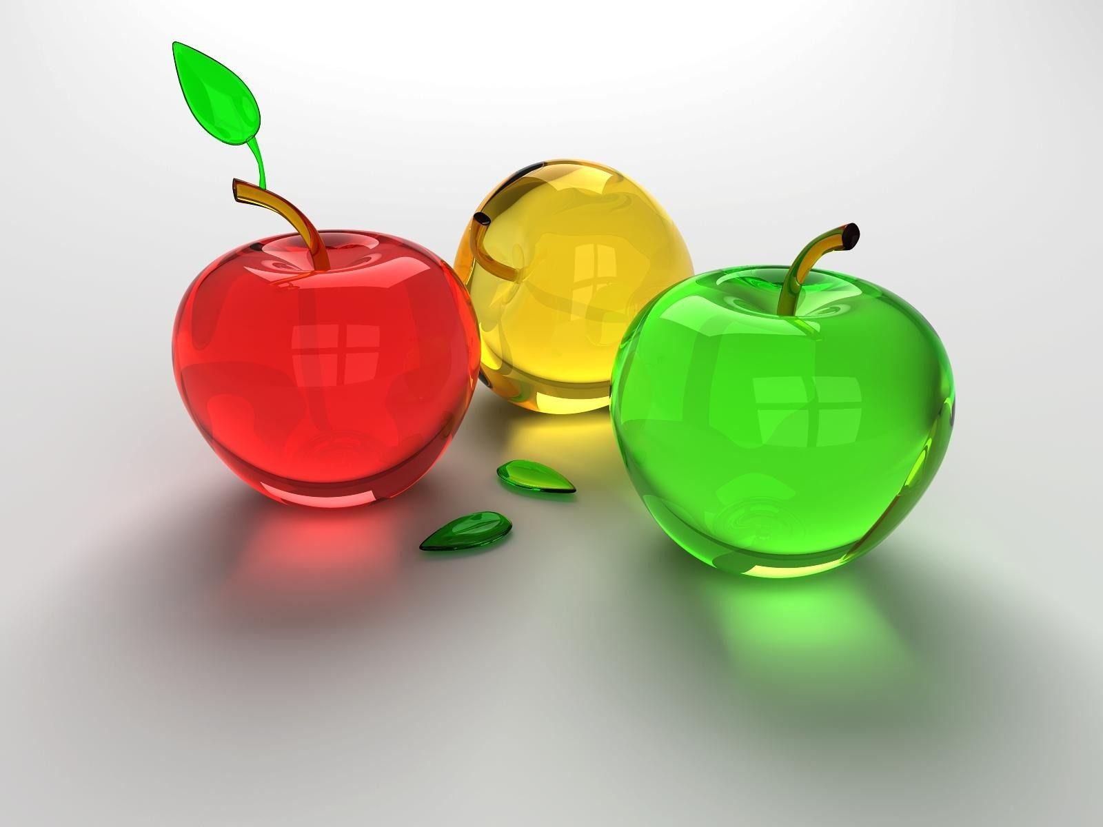 3d Fruits Glossy Desktop Wallpaper