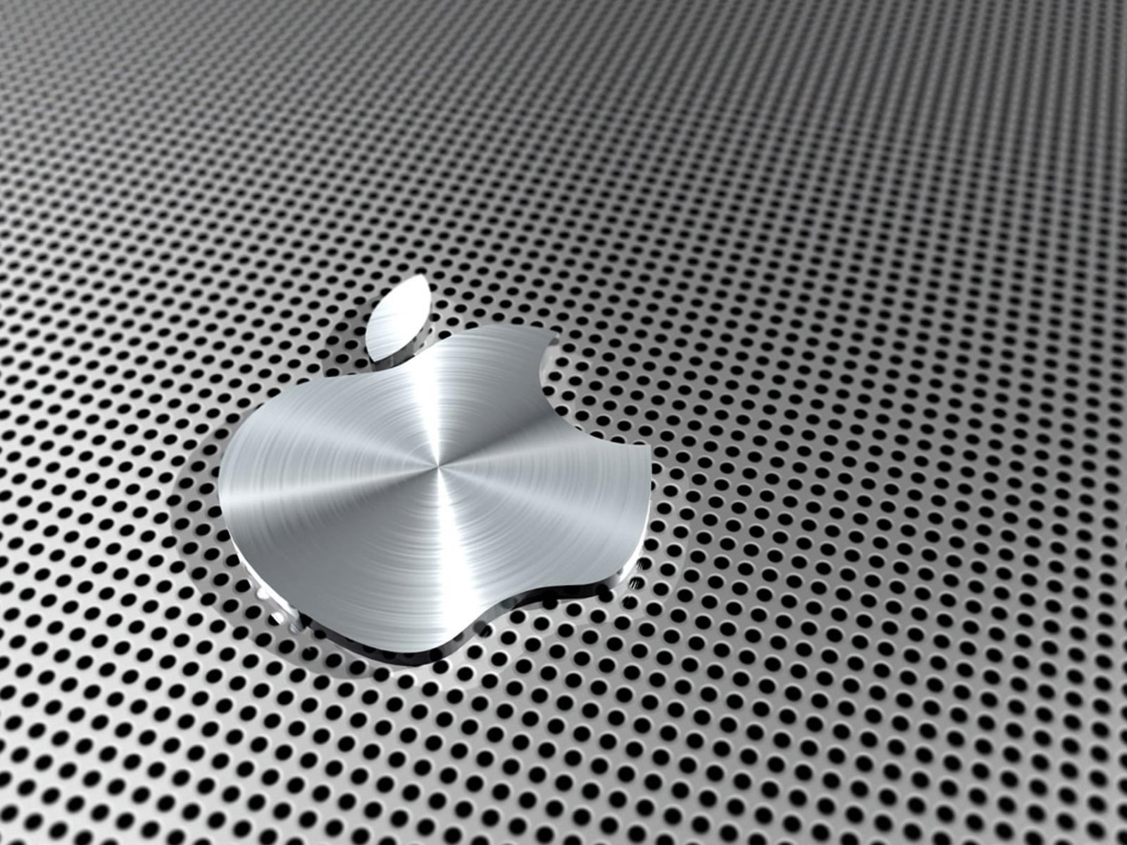 apple logo metalic