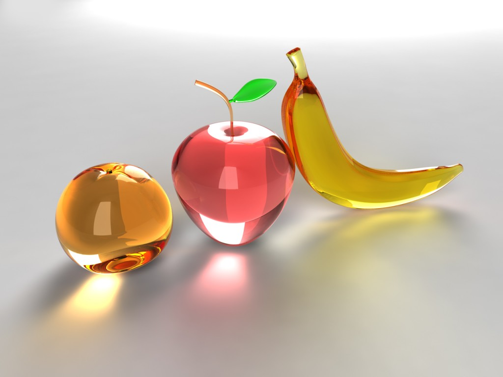 3d glossy banana apple orange