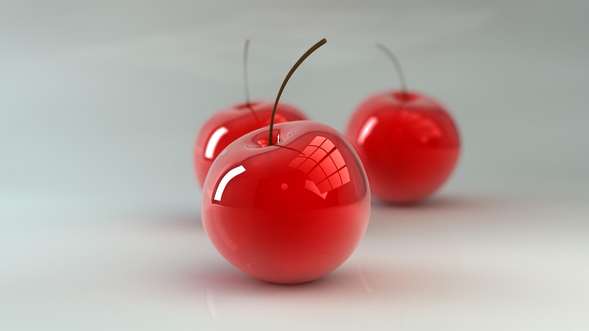 3d glossy cherries