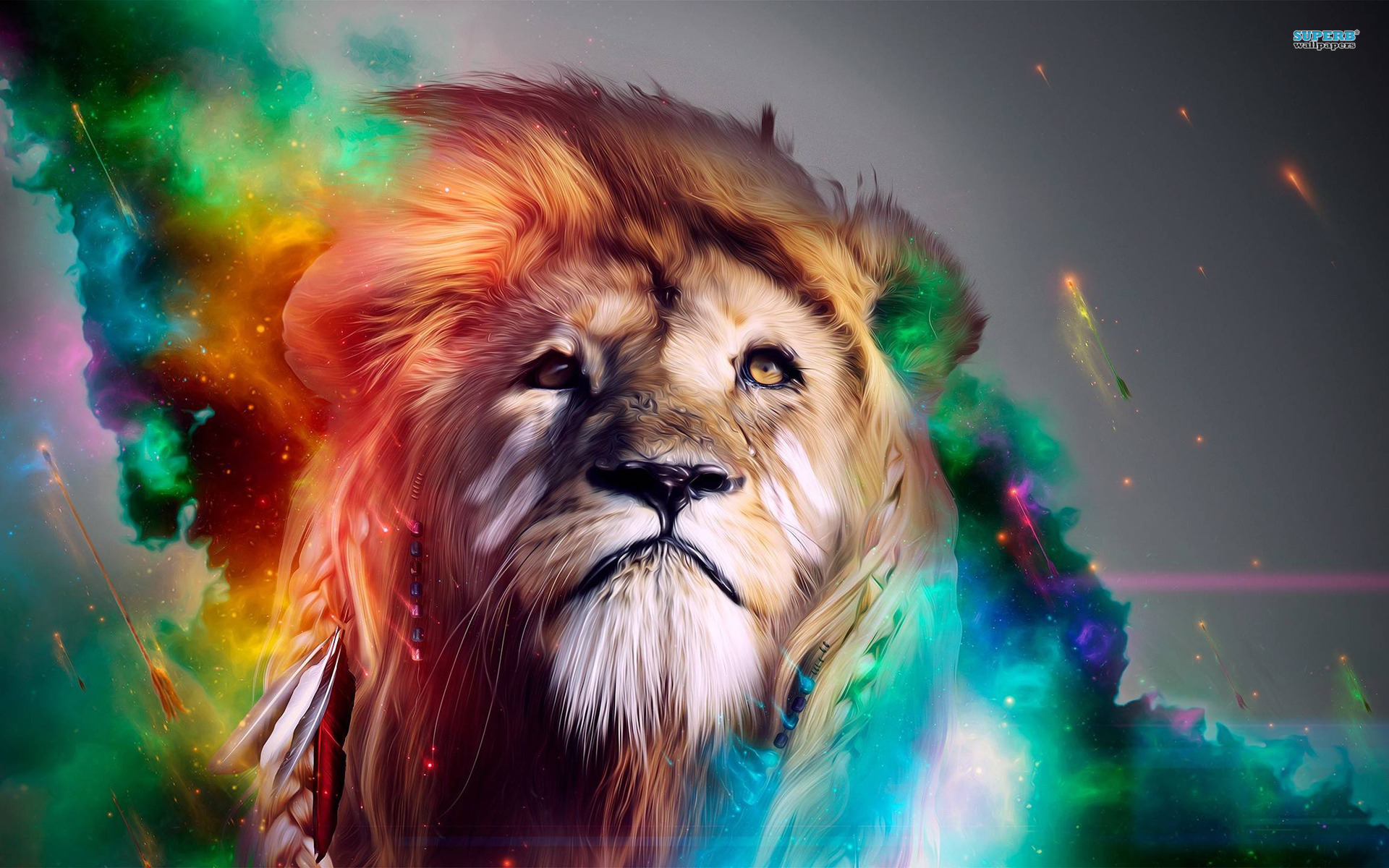 3d colorful lion