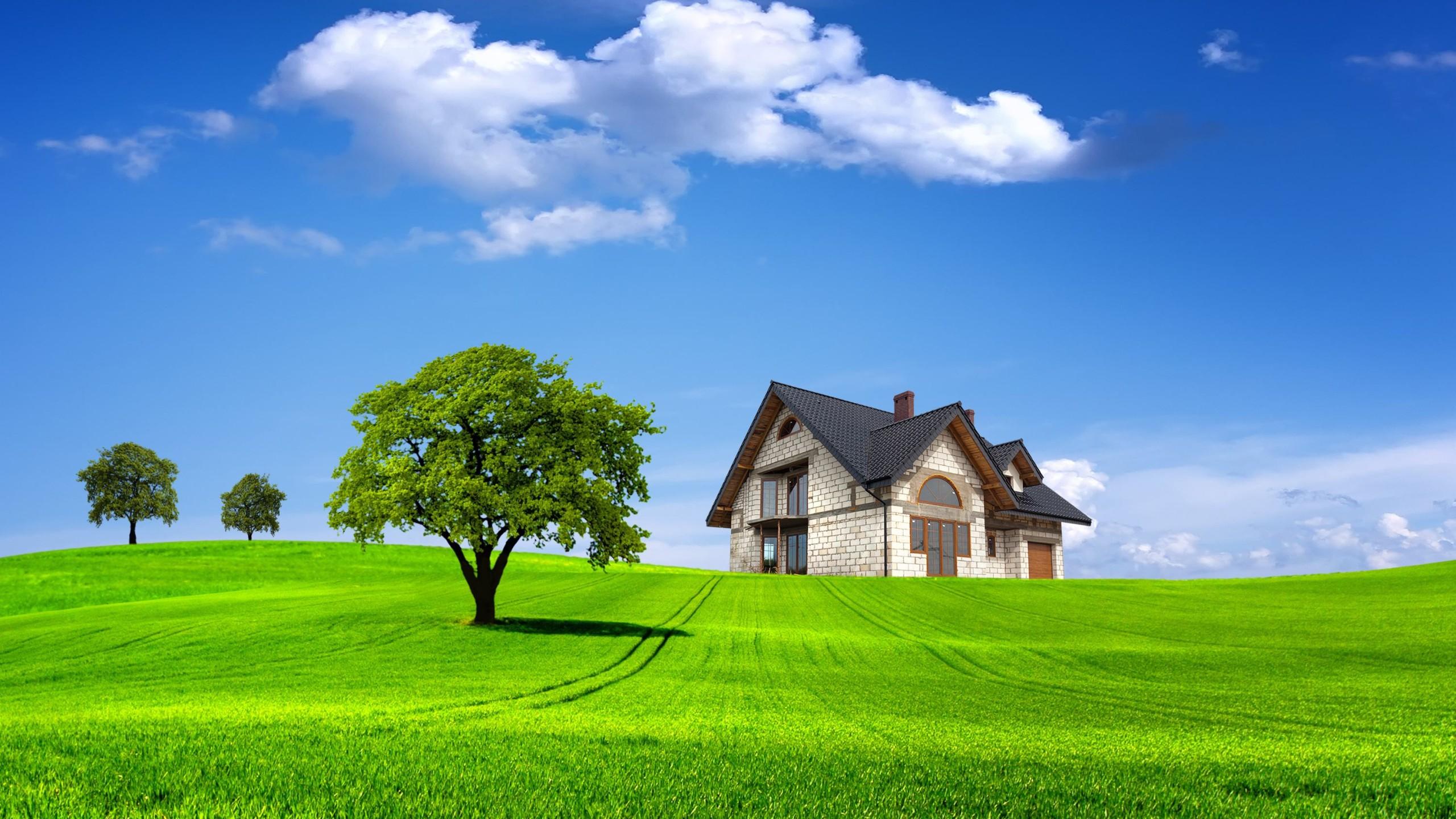 3d Nature Grass House Desktop Wallpaper