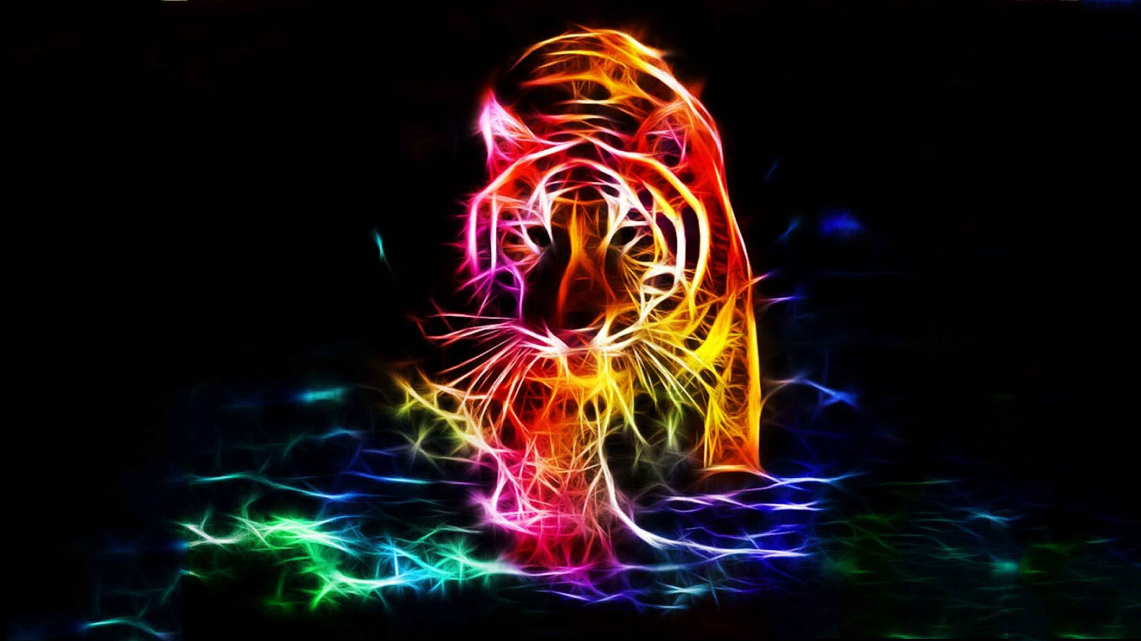 3d Fire Tiger Walk