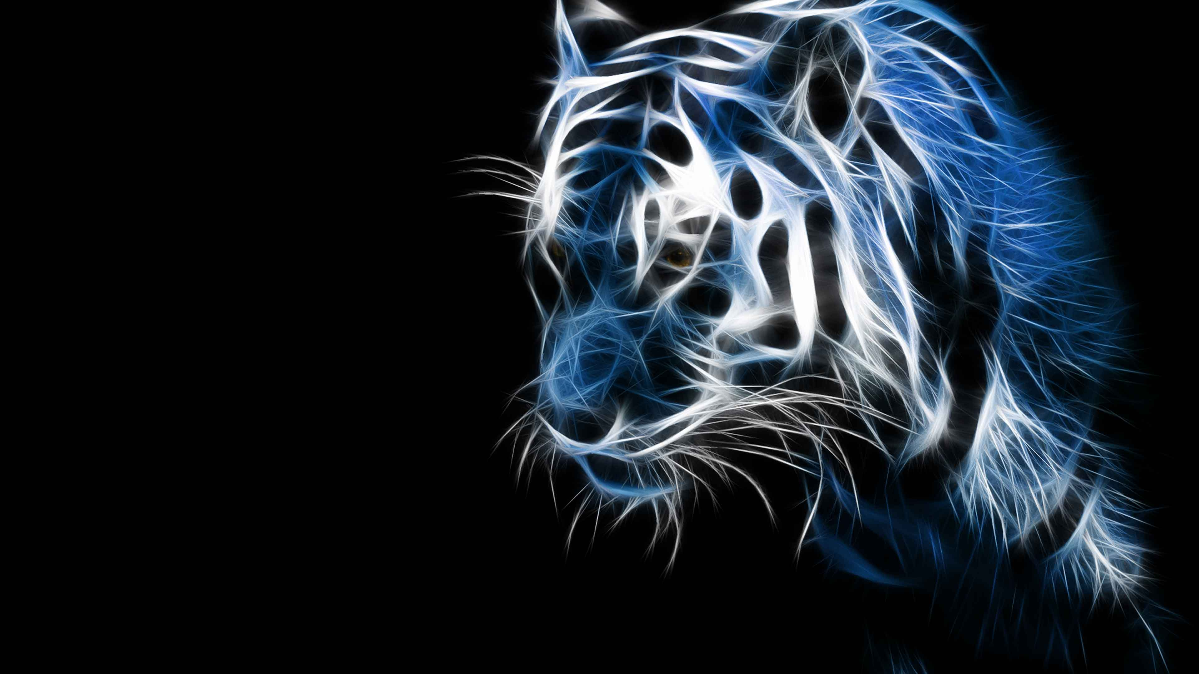 3d tiger glowing art