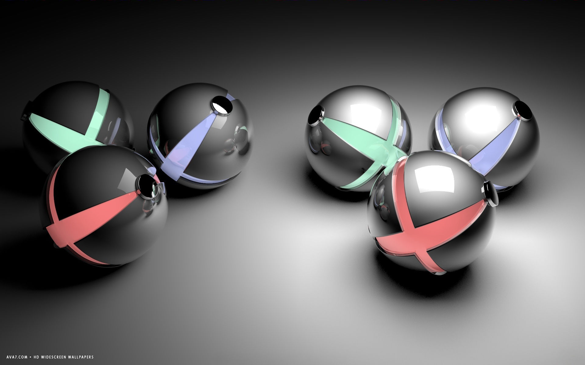 3d abstract red green plus blue reflective balls