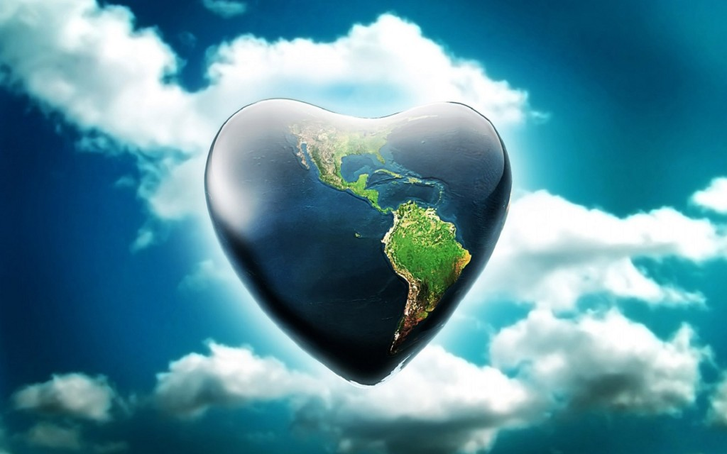 3d heart shape earth clouds wallpaper