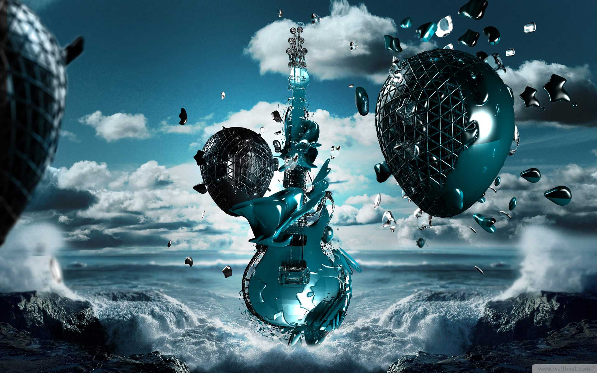 Guitar Alien Water 3d Widescreen