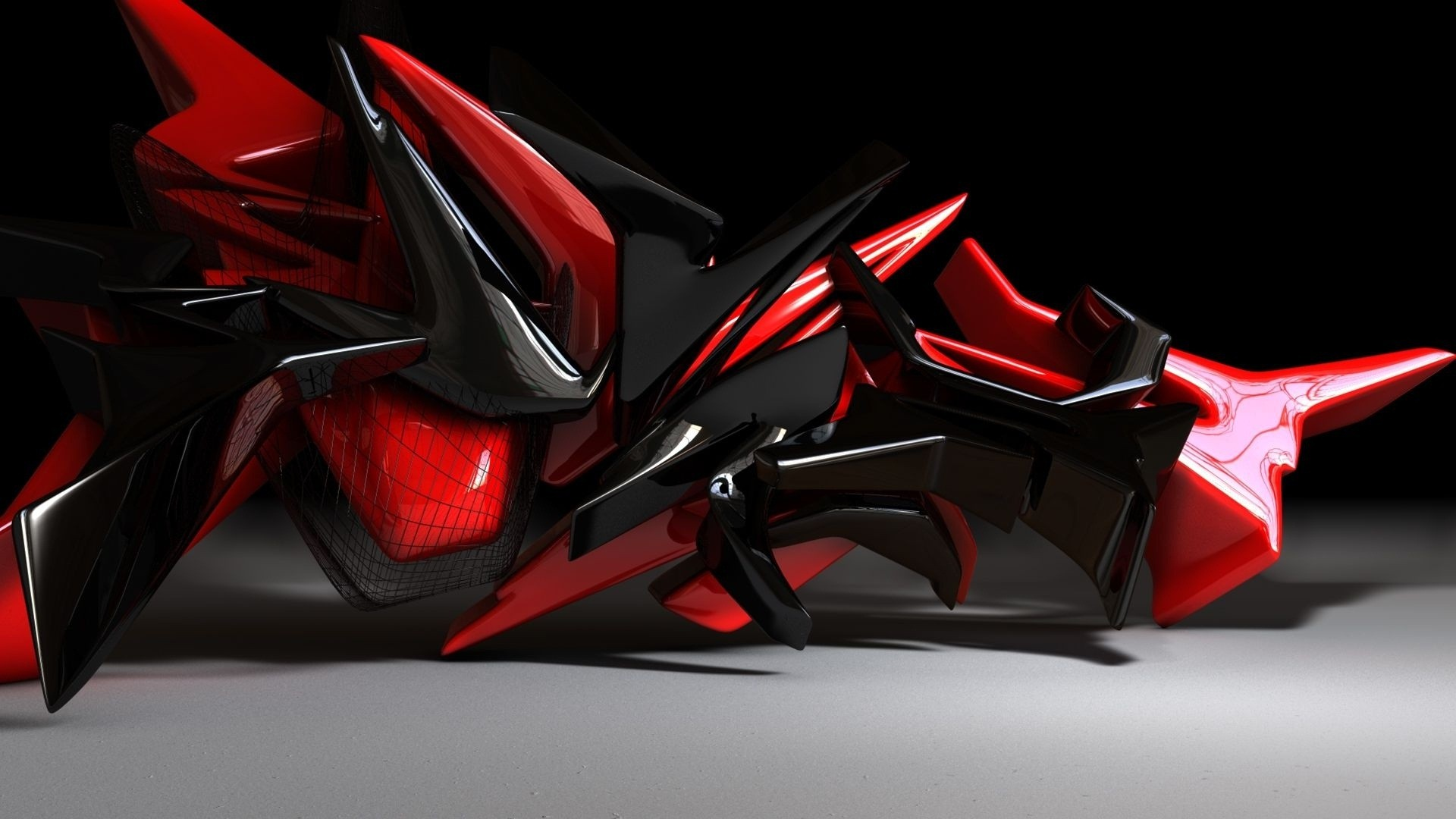 Red Black 3d Abstract Art