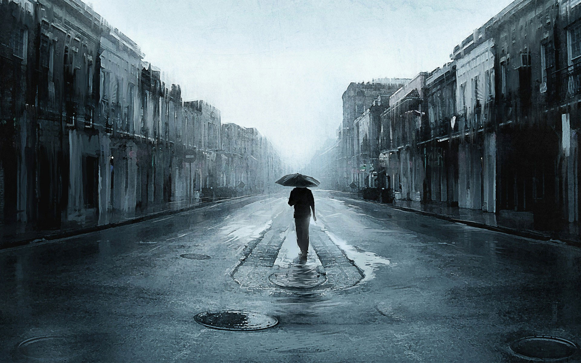 alone man walking rain umbrella