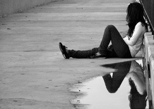 sad alone girl black and white water