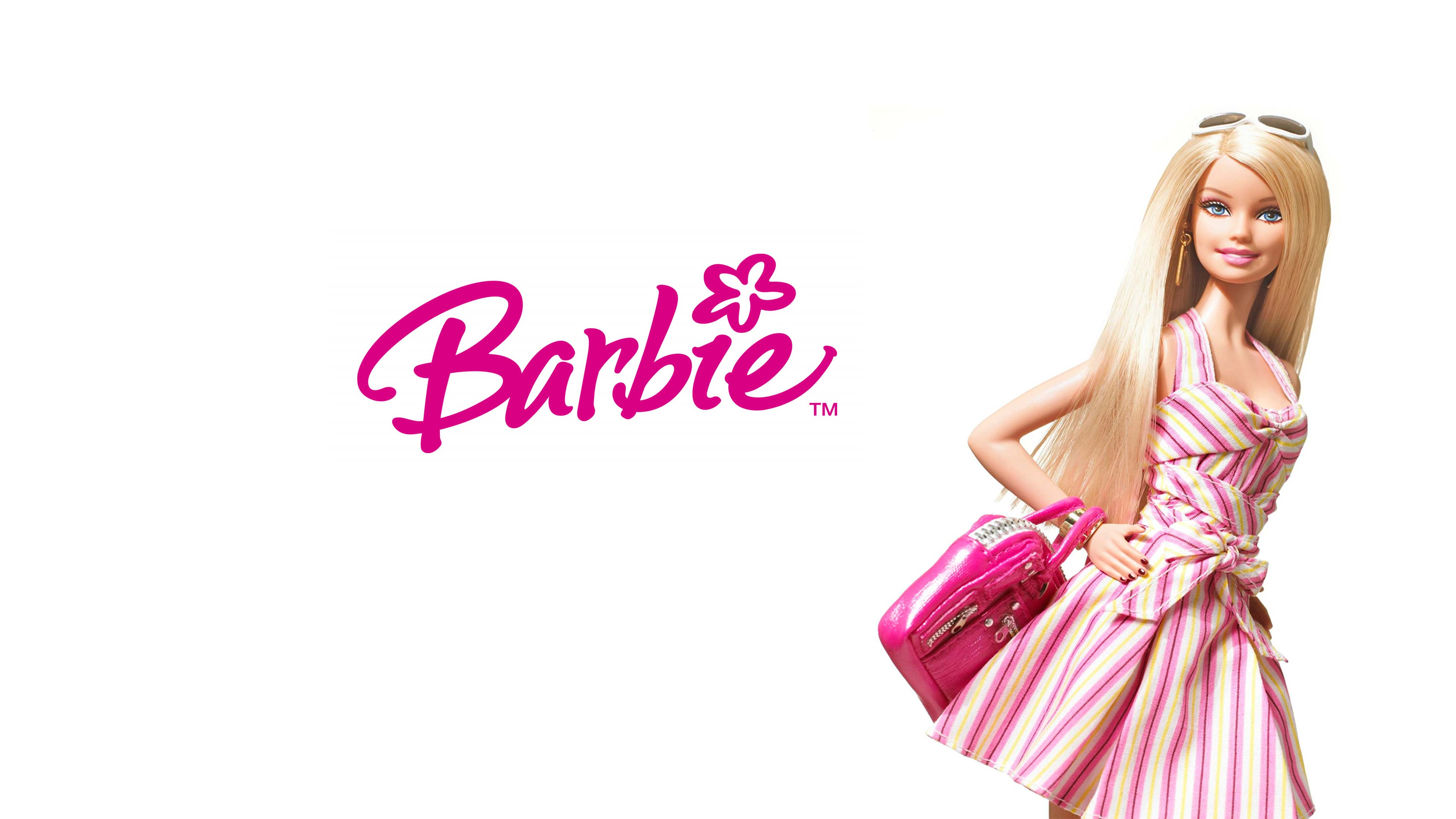 barbie girl pink dressed white background