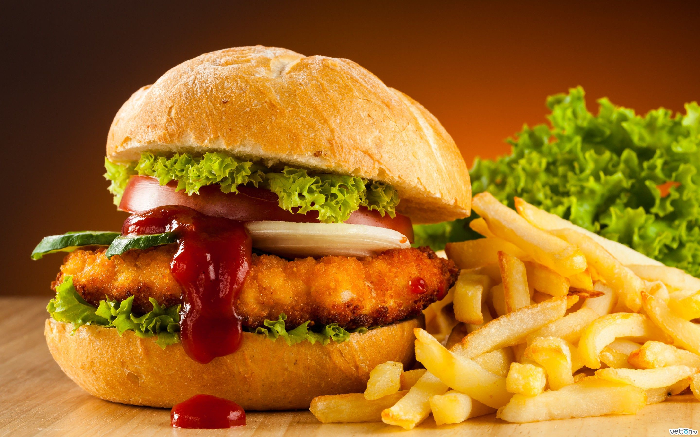chicken burger with french fries