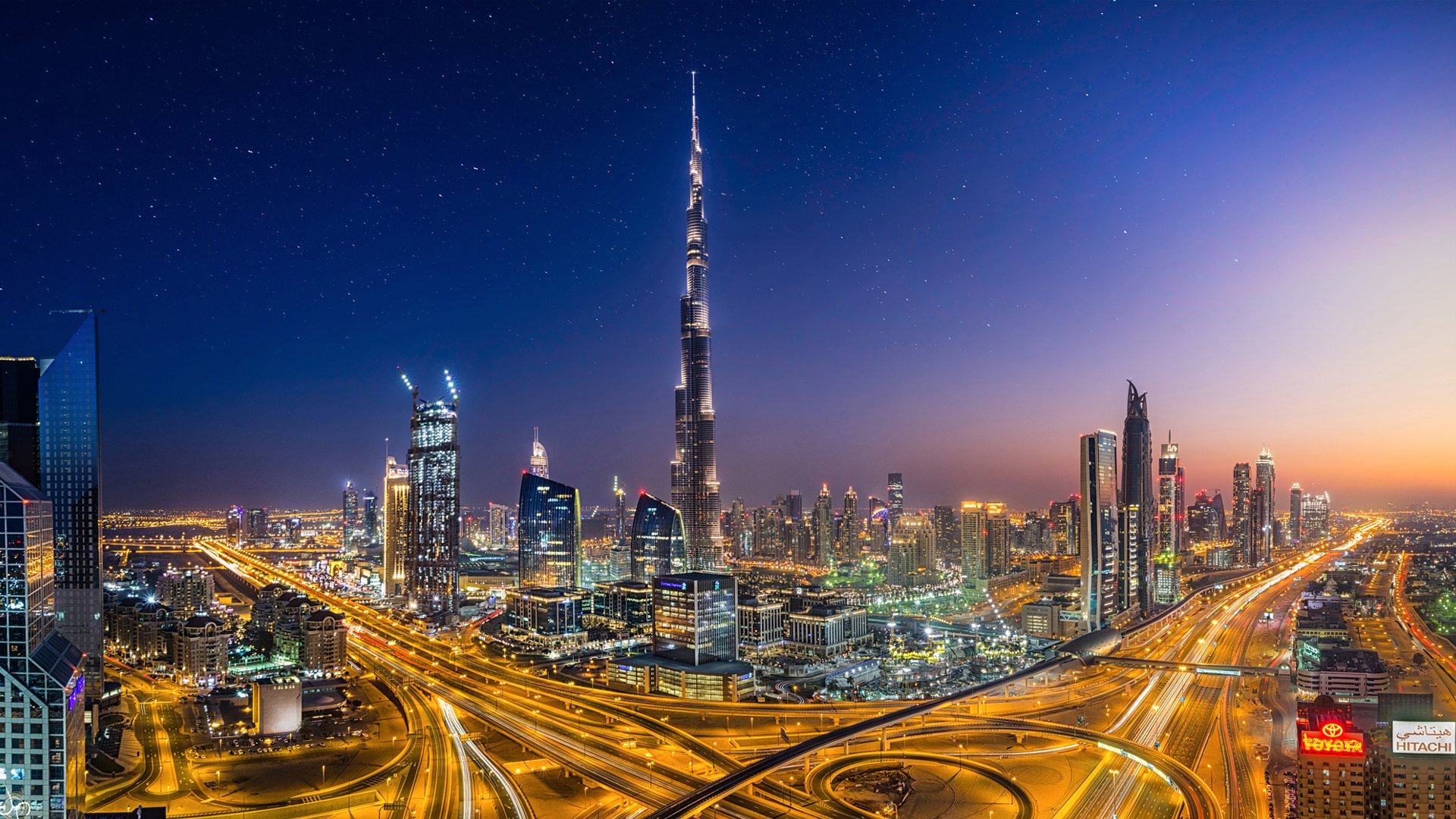dubai night glow megapolis city united arab emirates