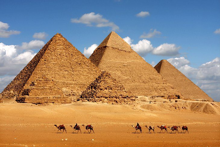 egypt cairo pyramids of giza and camels