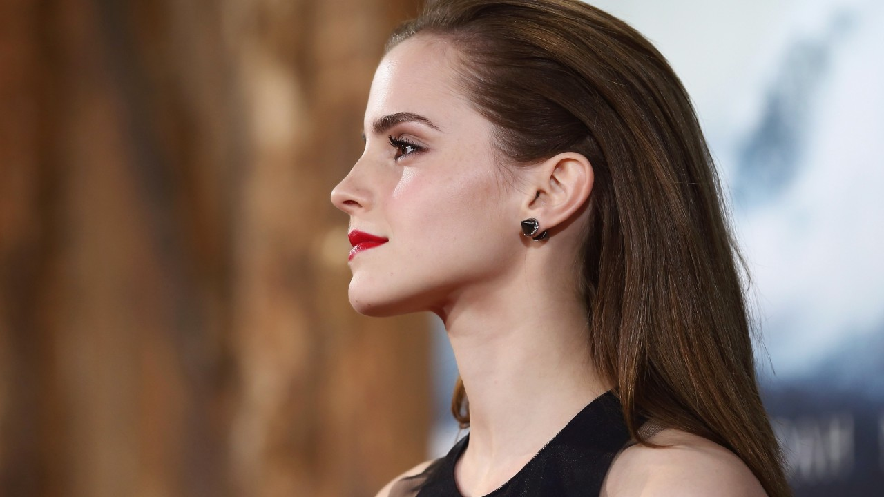 emma watson black dress celebrity side view