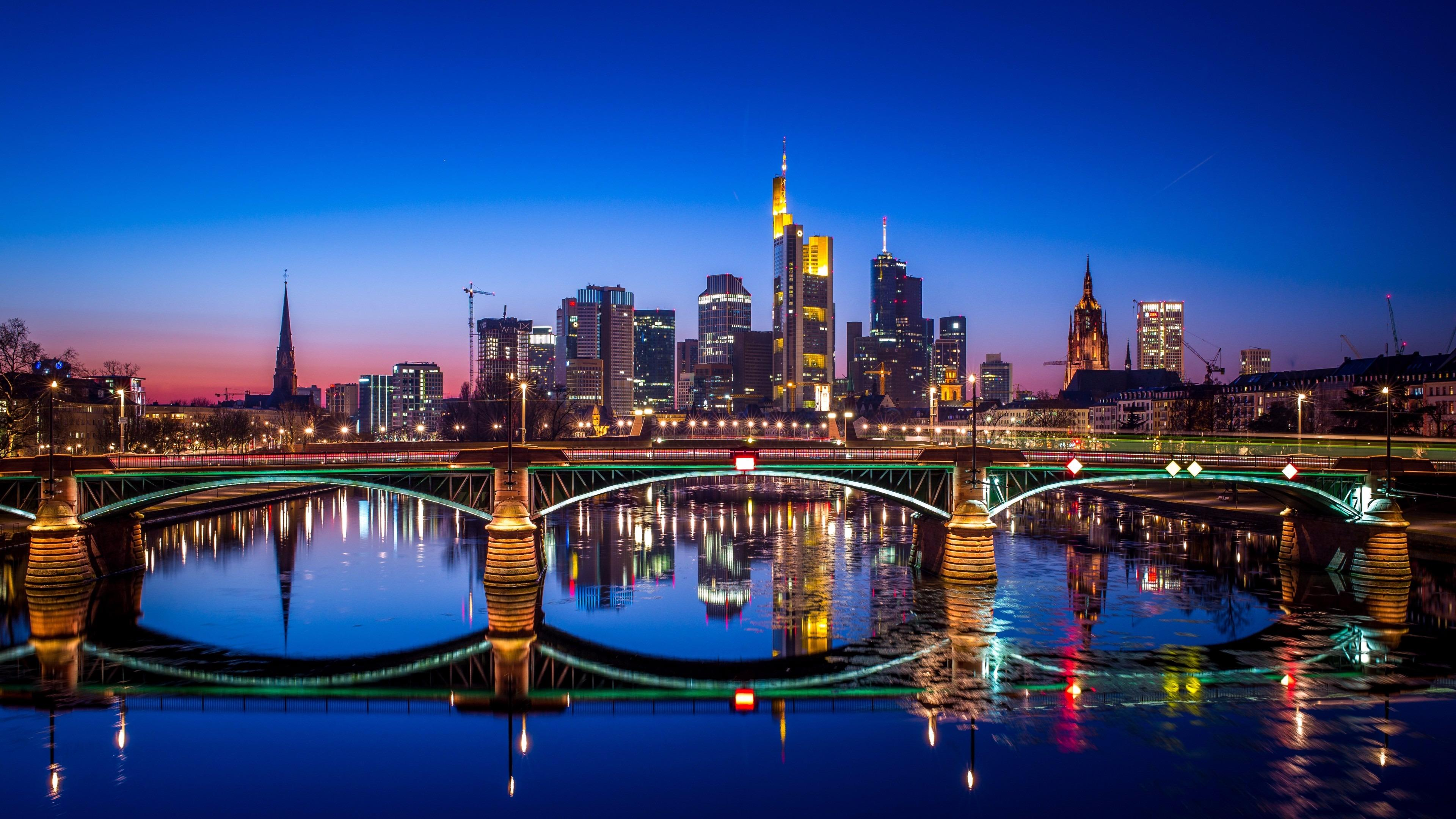 Nightscape Of Frankfurt Germany