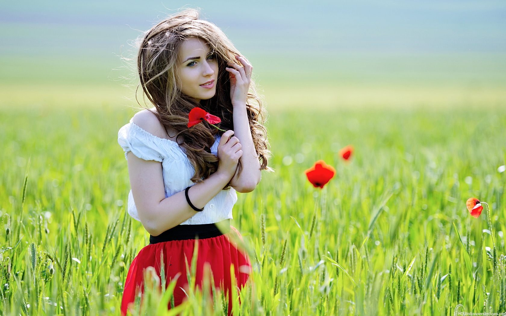 beautiful girl with red flower