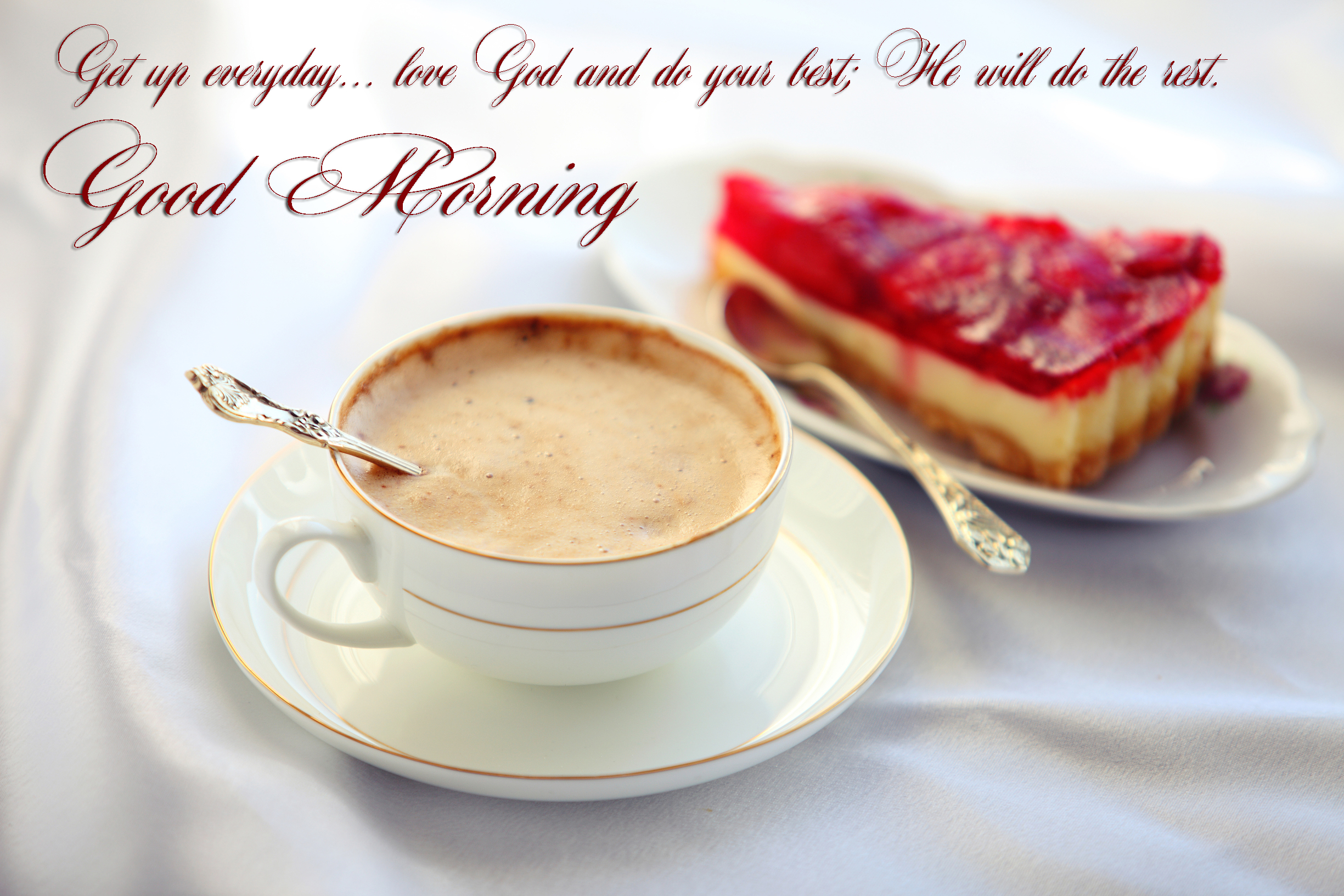 good morning message love god coffee cake