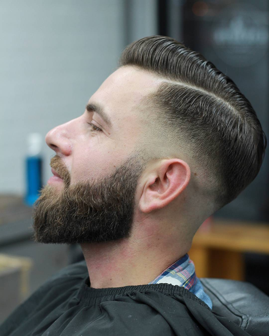 Clean Side Part Comb Over With Beard Hairstyle