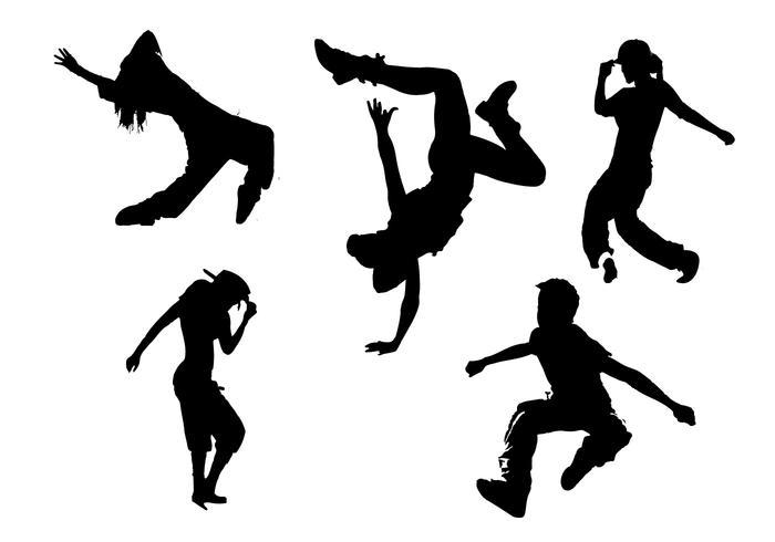 hip hop silhouette vectors