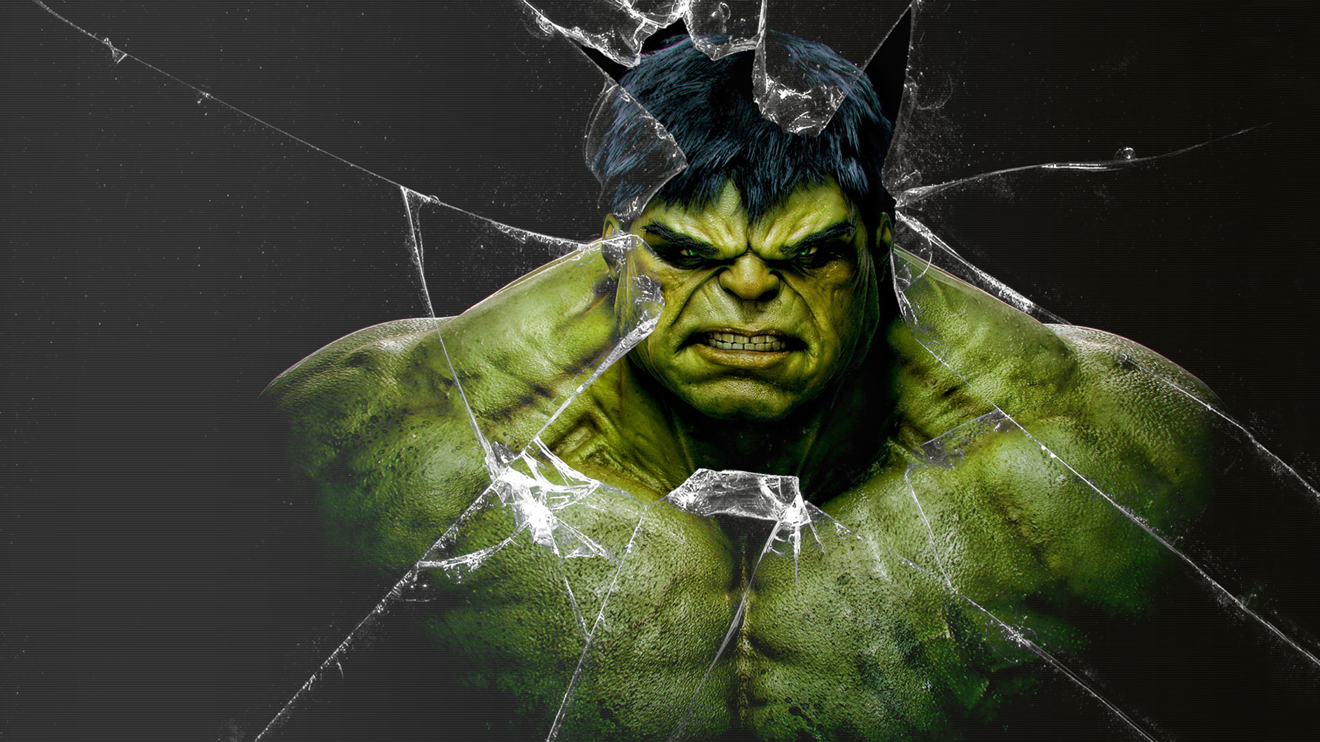 Hulk Face Broken Glass