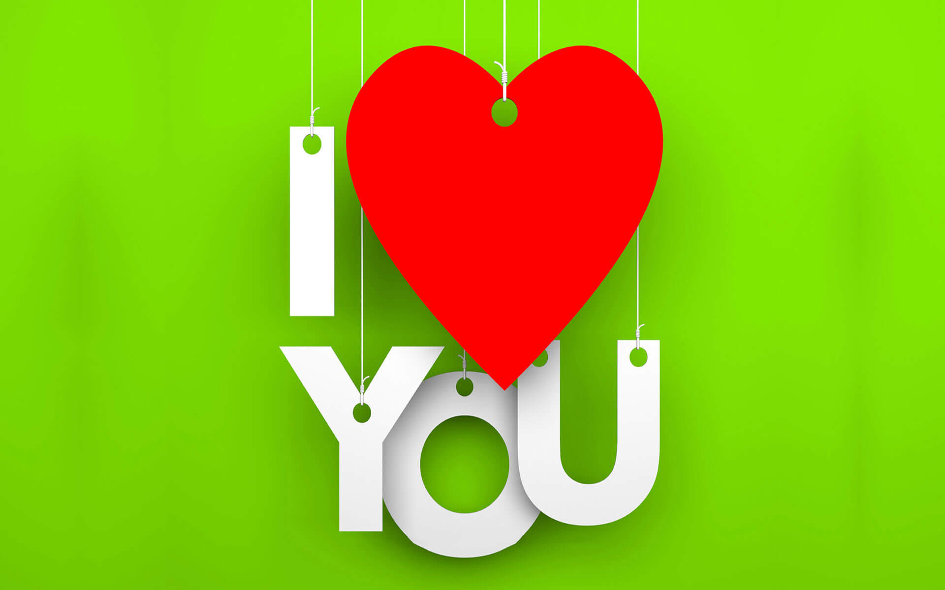 i love you green background