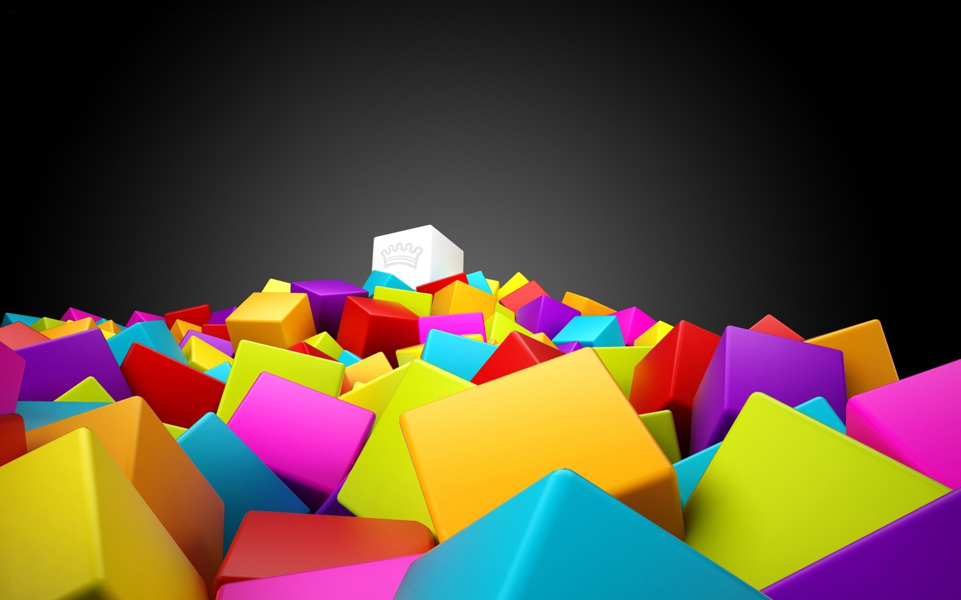 3d colorful cubes yellow blue pink red