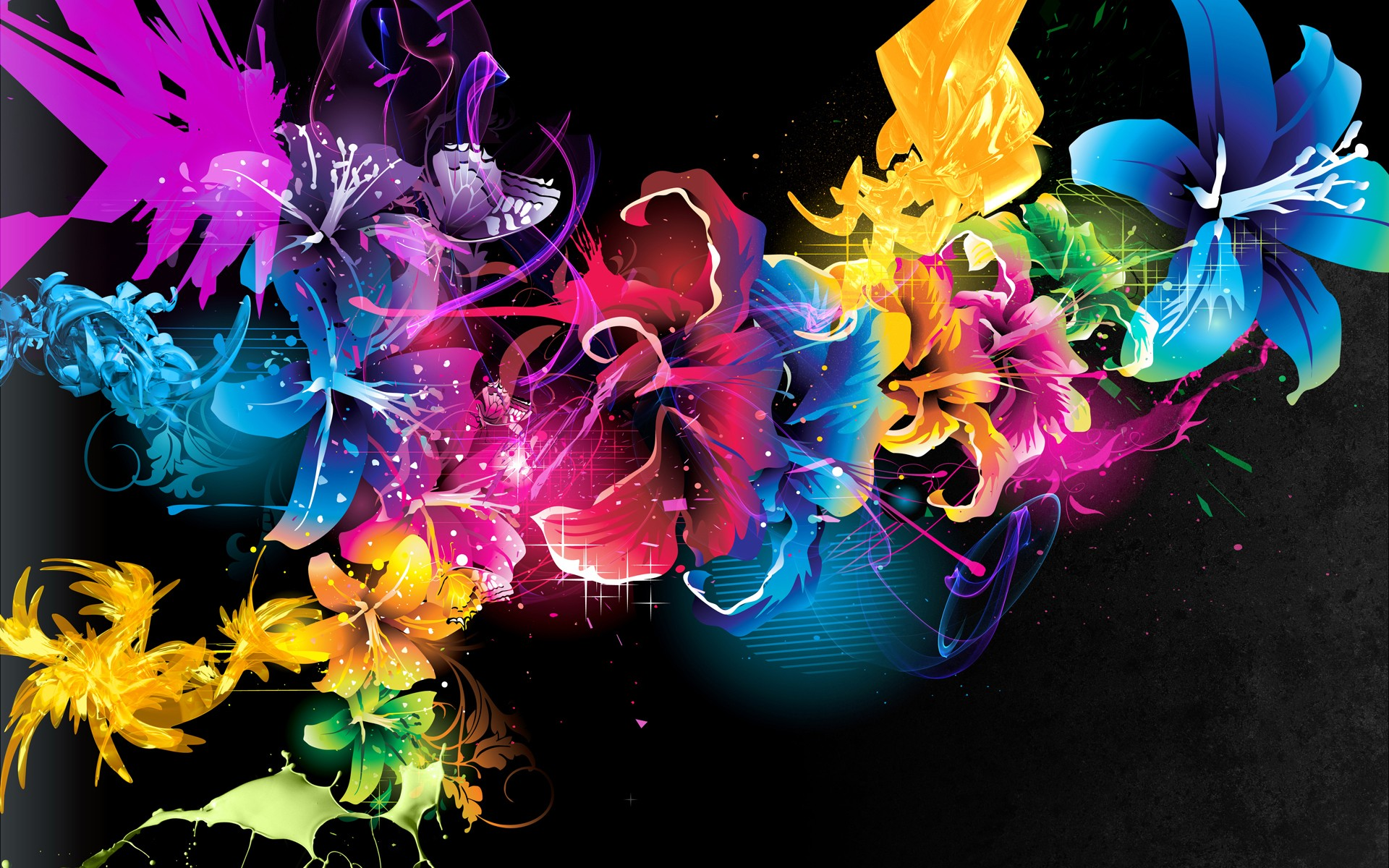 3d colorful flower abstract vector design